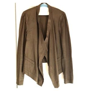 Edgy linen blazer from DVF with bias cut front